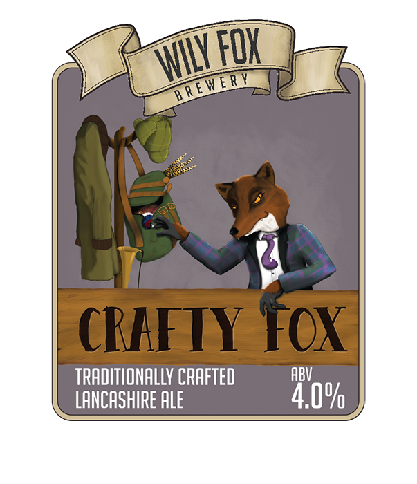 crafty fox pump clip beer name from the wily fox brewery