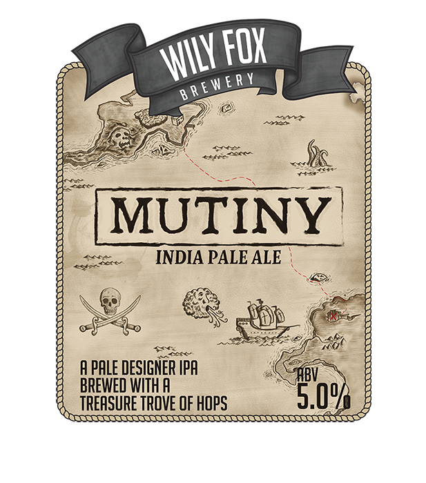 mutiny pump clip artwork by wily fox brewery