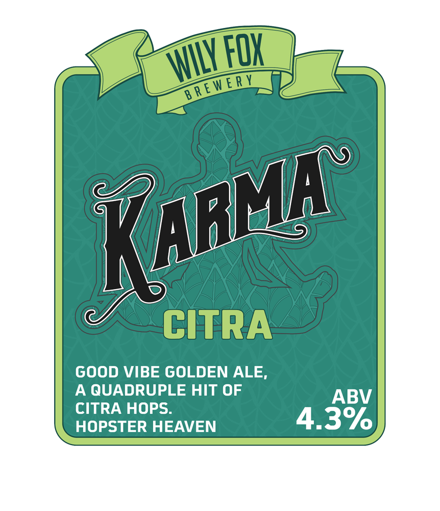 KARMA CITRA PUMP CLIP FOR CASK ALE BY THE WILY FOX