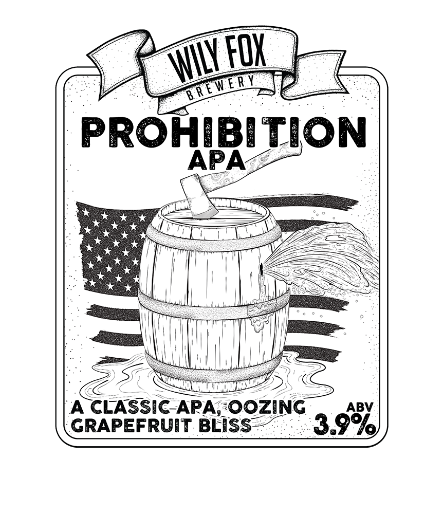 prohibition pump clip beer name from the wily fox brewery
