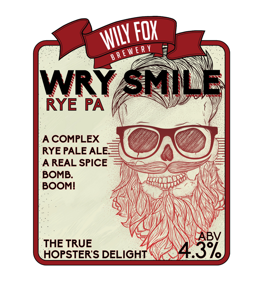 wry smile pump clip beer name from the wily fox brewery