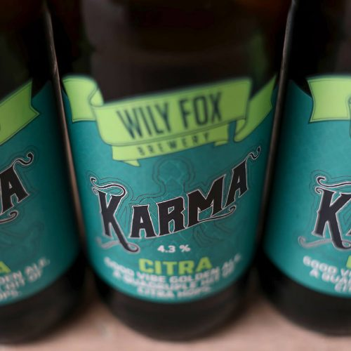 Karma Citra golden ale from wily fox brewery in iwgan
