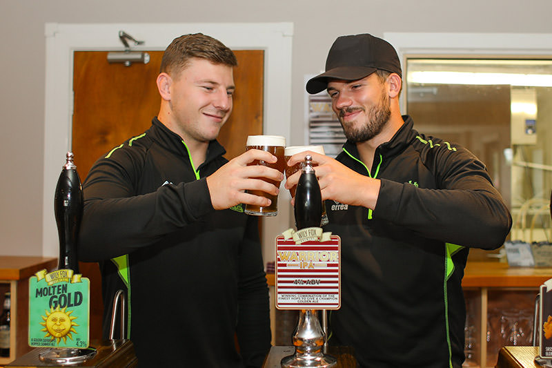George Williams & Oliver Gildart celebrate the launch of the Warrior IPa