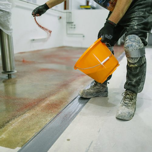 resin floor being installed inside a brewery