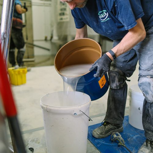 resin blue being mised for the Wily Fox brewery maintenance