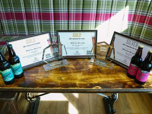 Wily fox new Siba Beer awards on a table